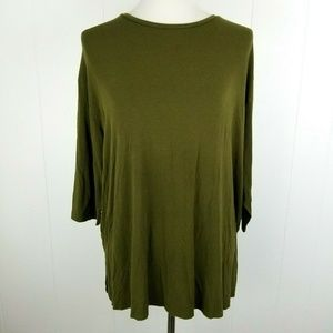 ASOS Womens 6 Army Green 3/4 Sleeve Top Stretch